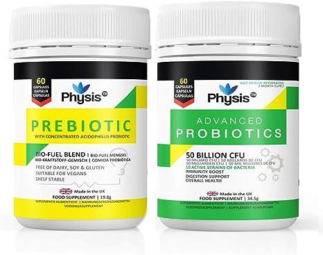 Physis Advanced Probiotics E Prebiotico Bio Fuel Value Pack 60 Capsule Ciascuna 2 Mesi Di Gut Flora Combo Pack Amazon It Salute E Cura Della Persona