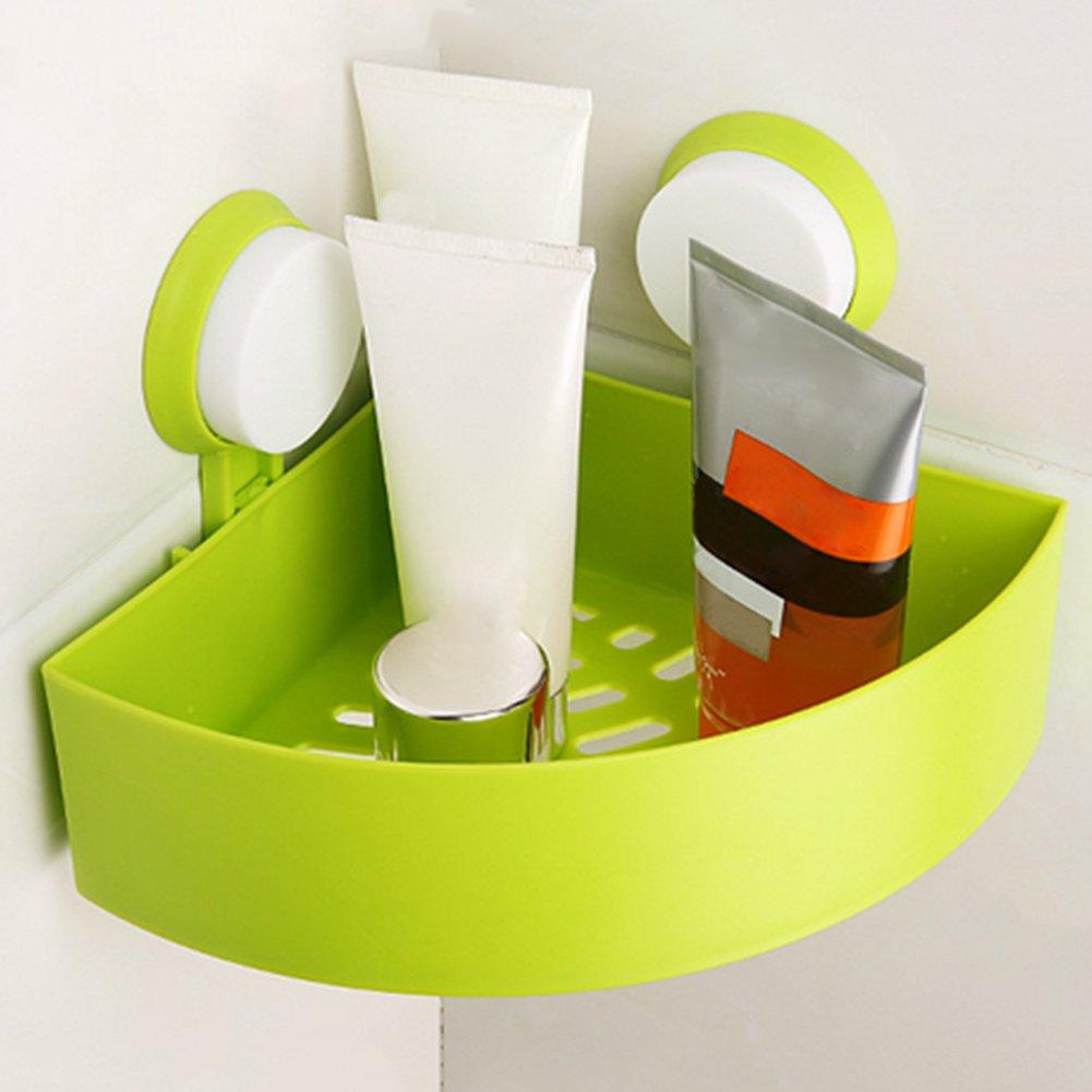 Kitchen Organizer - Powerful Suction Type Wall Hanging Bathroom Storage Shelves Rack Plastic Corner Shelf Organizer - Paper Hutch Rotating Sponges Labels Jars Mug Magnet Can Island