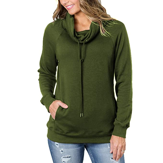 9bb9e4dfaf4c46 KUREAS Women Hoodies Tops Solid Long Sleeve Sweatshirts Drawstring Tunic  Sweaters Hoodie Army Green