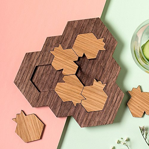- Handmade Wood mind game, 6 challenging puzzle parts in Pomegranate and honey hive shape innovative souvenir from Israel Modern Judaica gift