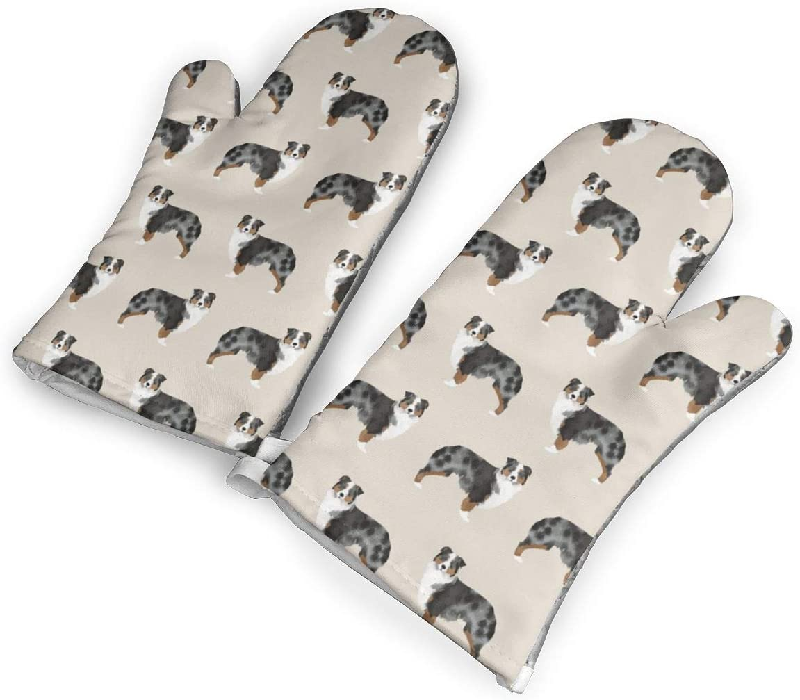 Da66jj Australian Shepherd Oven Mitt and Pot Holder Or Oven Gloves High Heat Resistance,Superior Protection & Comfort