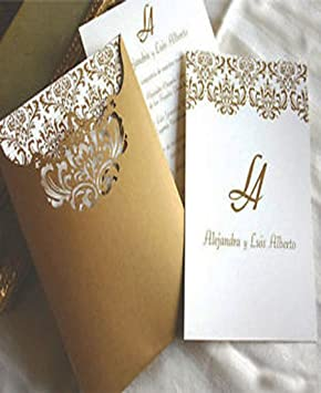 100 Personalised Elegant Laser Cut Ivory Gold Wedding Invitations