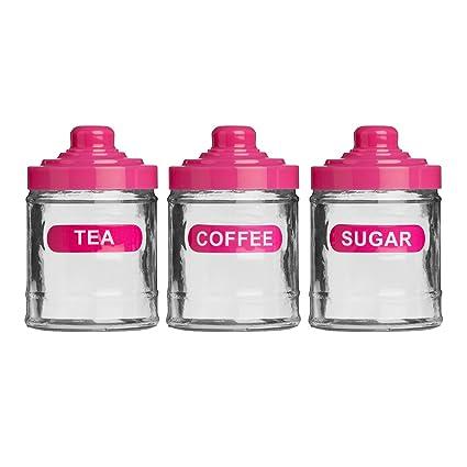 Set Of 3 Hot Pink Colour Glass 760ml Tea Coffee Sugar Kitchen