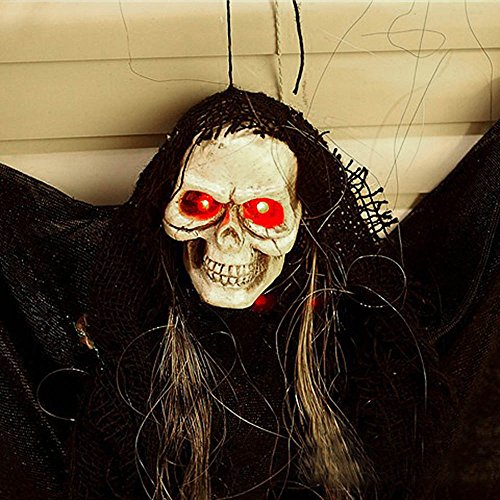 VT BigHome Skull Skeleton Ghost Glowing Red Eyes Sound Effects Halloween Decoration Props Party -