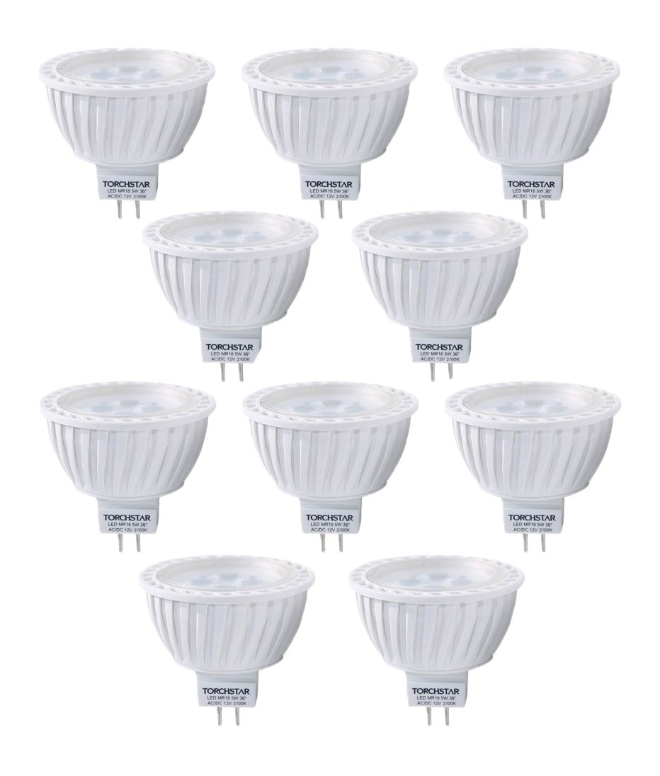 10pcs Pack AC/DC 12V 5W MR16 LED Bulb - 50W Equivalent 2700K Warm White LED Spotlight - 320 Lumen 36 Degree Beam Angle GU5.3 Base for Home, Recessed, Accent, Landscape, Track Lighting