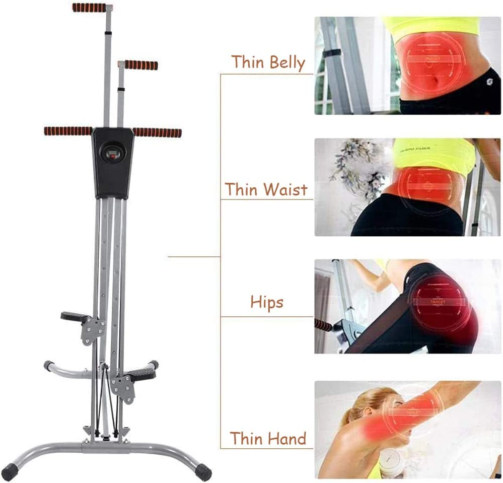 Mustbe Strong Folding Vertical Climber Stepper Machine Adjustable Height Durable Steel Gym Home Training Resistance Fitness Equipment