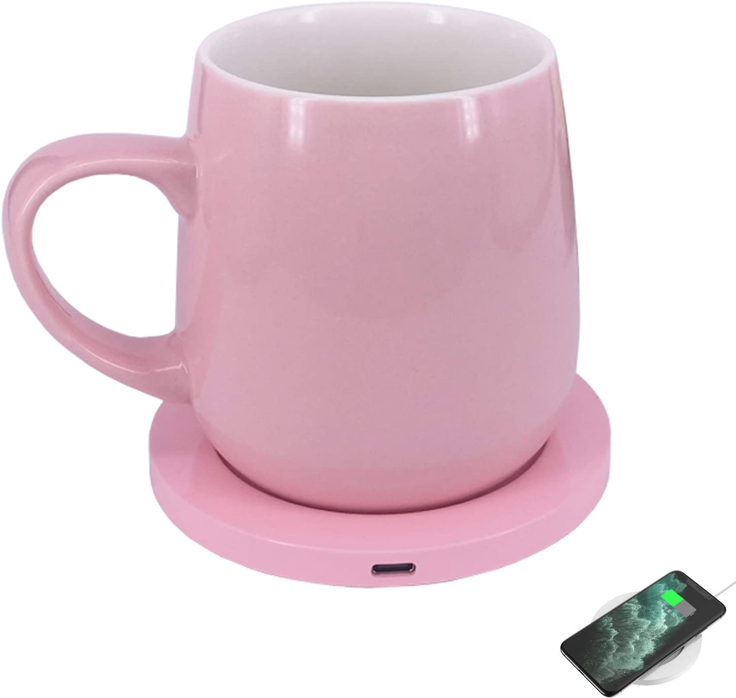 Wired coffee cup warmer with wireless charging coaster keep coffee milk tea warm for home and office use (Pink)