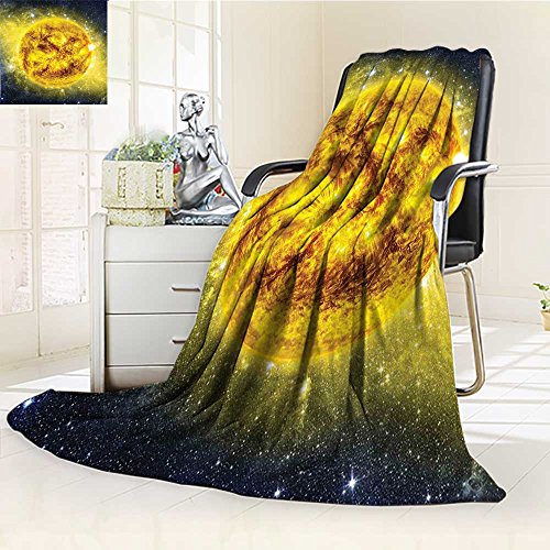 YOYI-HOME Original Luxury Duplex Printed Blanket, Hypoallergenic,Sun in Space with Luminous Effects Dynamic Center of Solar System Print Yellow Blue Perfect for Couch or Bed/W47 x H59 by YOYI-HOME