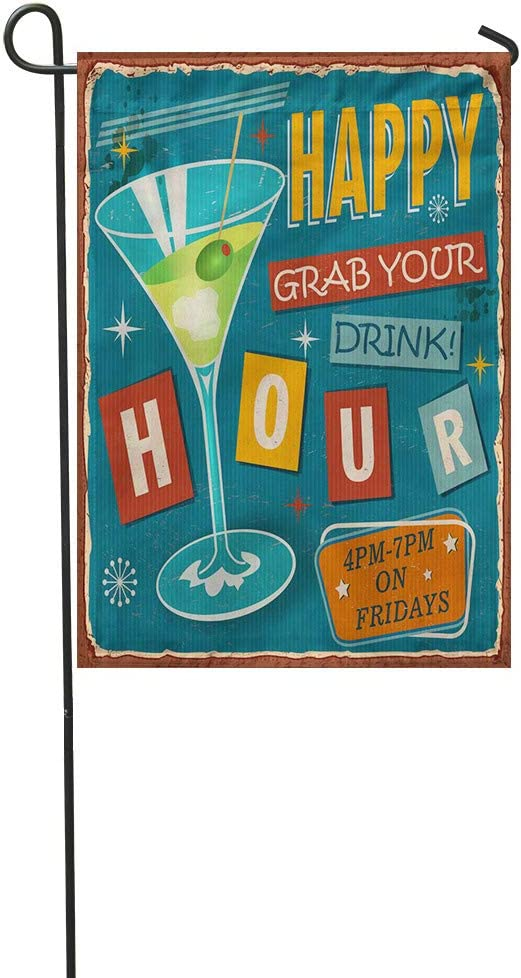 """Vooft Double Sided Garden Flag 12""""x18"""" Martini Vintage Happy Hour Metal Sign Retro 1950S 1960SSoft Durable Outdoor Banner Courtyard Lucky Corridor Decoration"""