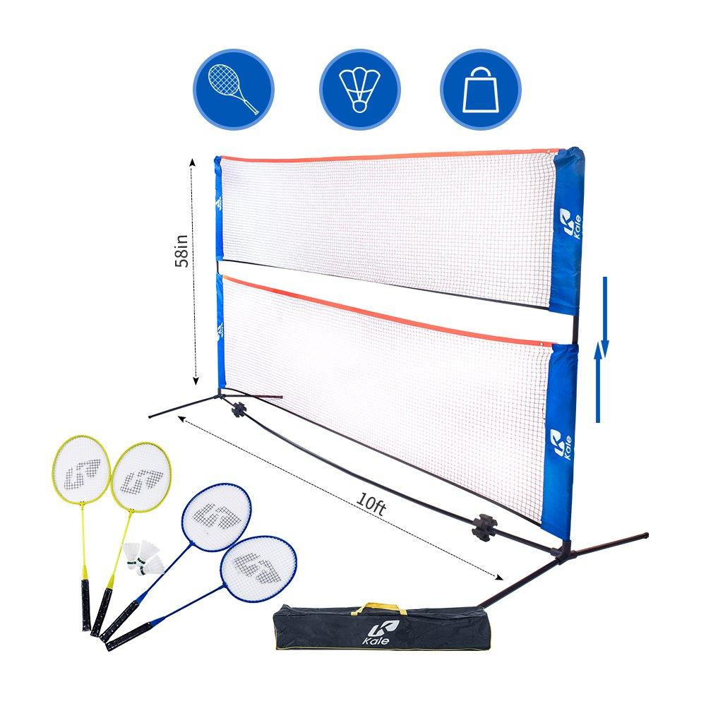 Kale大人と子供のためのバドミントンセットwith 10フィートNetスタンド/フレーム、4 Badminton Racketsと3ボール B07211NQYL