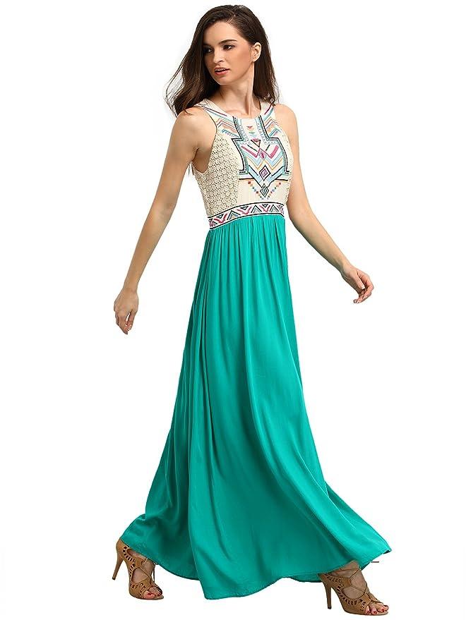 Romwe Womens Bohemian Print Sleeveless Summer Beach Maxi Dress - Green -: Amazon.co.uk: Clothing