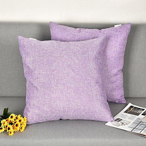 Natus Weaver Throw Cushion Faux Linen Home Decorative Hand Made Pillow Case Cushion Cover For Naps , 18 x 18 - inch, Lavender, 2 Pieces - Lavender Decorative Pillow