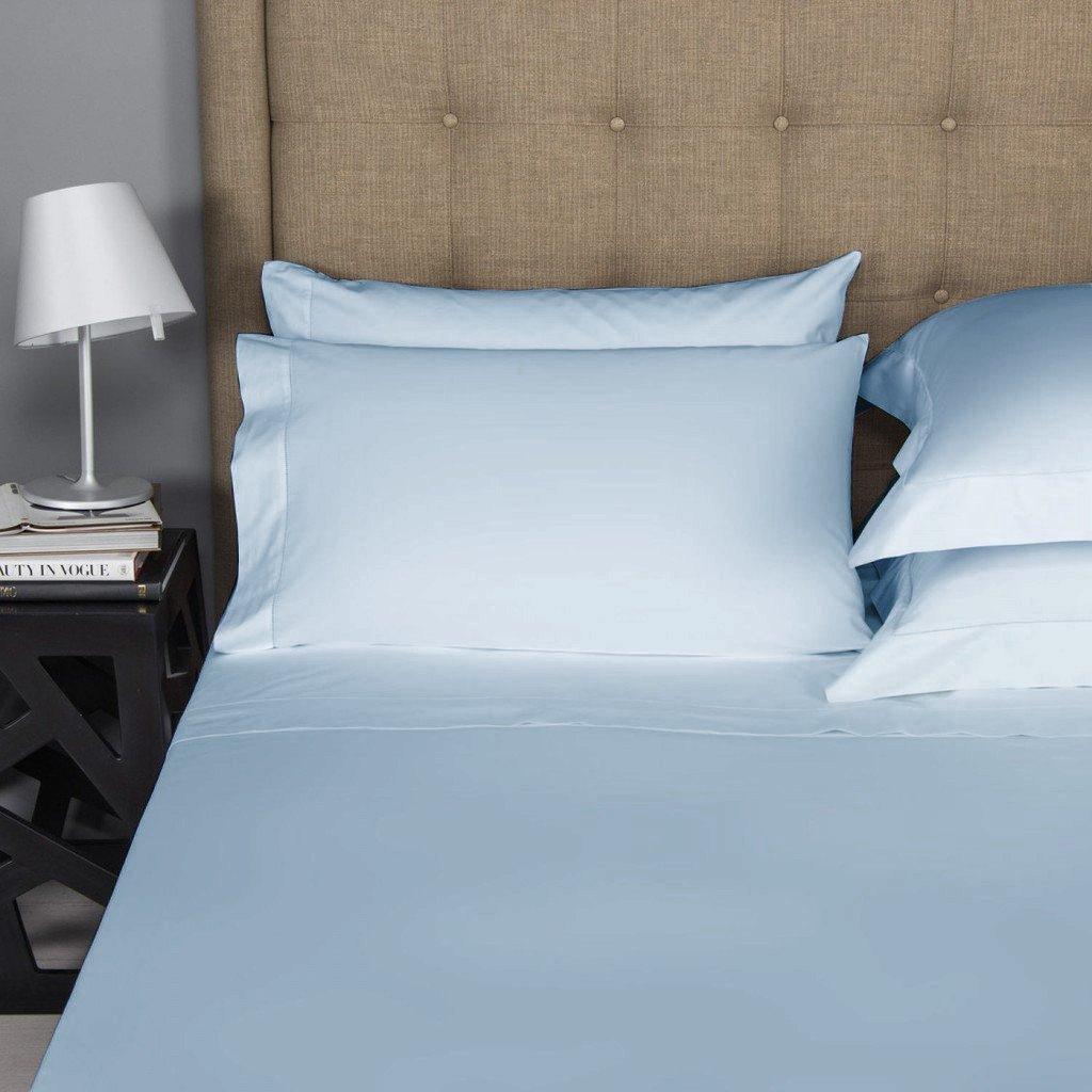 Thread Spread Hotel Collection 600 Thread Count Egyptian Cotton Sateen 4 Piece Sheet Set King Pillow Case Pair, Light Blue