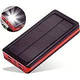 ソーラー充電器 モバイルバッテリー ソーラーチャージャー 大容量 24000mah iphone 充電バッテリー 携帯充電器 ソーラーパネル IPX6防水 LEDライト付き 4台同時充電 太陽光で充電でき スマホ 急速充電 太陽エネルギーパネル 4出力(2.1A)と2入力(5A/2A)搭載 micro USB ポート lightning TYPE-C iPhone / iPad / Android Galaxy Xperia 各種機種対応 地震防災 災害 旅行 アウトドアに大活躍 レッド