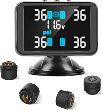 Real-time Alarm Function Tymate TPMS Wireless Tyre Pressure Monitoring System 4pcs External Sensors 0-8.0 BAR//0-116 PSI 3.7inch LCD Screen Real-time Displays 4 Tyres Pressure and Temperature