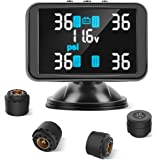 Tymate TPMS Wireless Tire Pressure Monitoring System, 3.7inch LCD Screen Real-time Displays 4 Tires' Pressure and Temperature, 4pcs External Sensors (0-8.0 BAR/0-116 PSI), Real-time Alarm Function