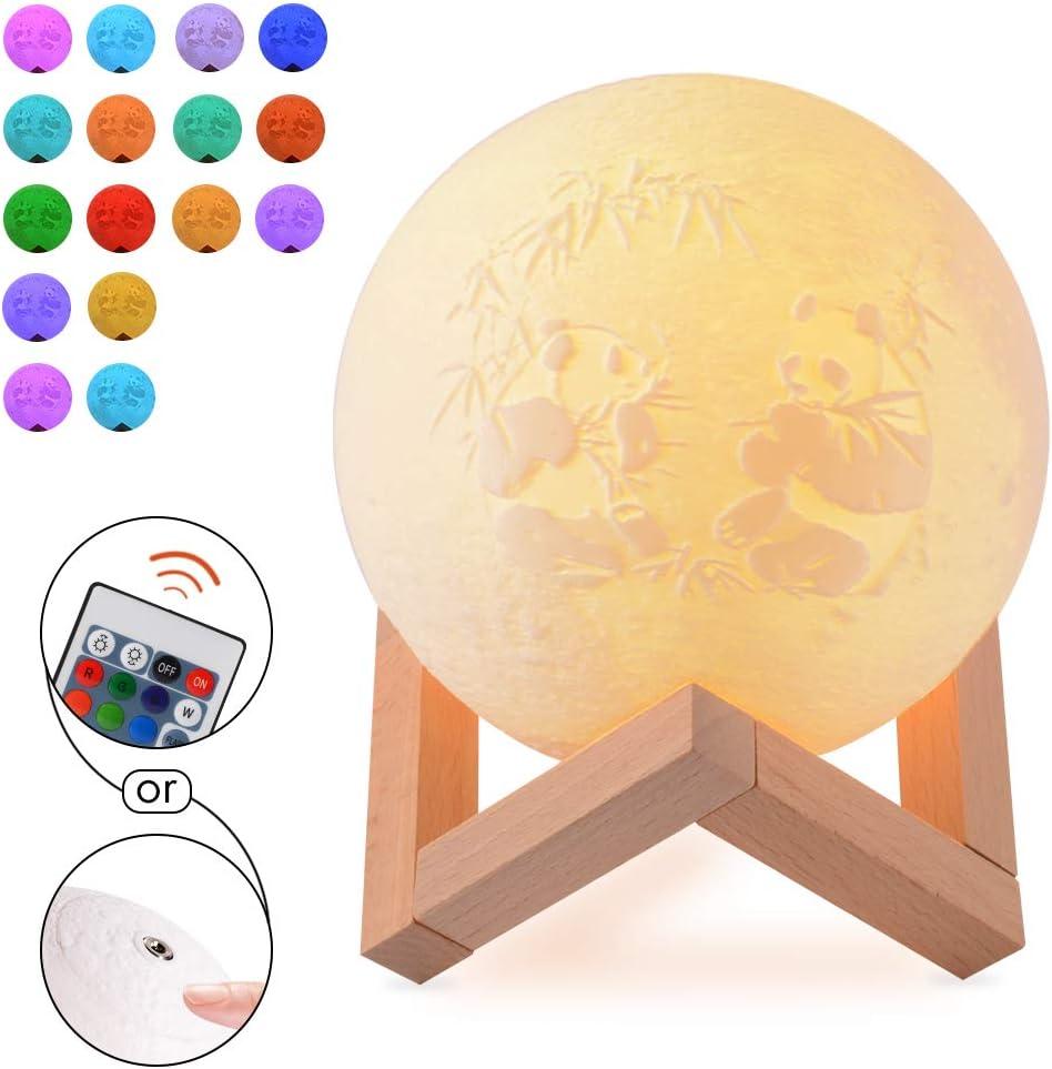 Lámpara Picture Moon personalizada-Luz nocturna impresa en 3D impresa personalizada con soporte regulable Control táctil,luces decorativas de luz nocturna para niños de la habitación 8 colores (22 cm)