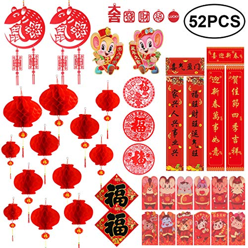Chinese New Year Decoration - Chinese Couplets Chunlian Paper Red Lantern Red Envelopes Hong Bao Chinese Fu Character Paper Window - Spring Festival Party Decor [52 pieces]