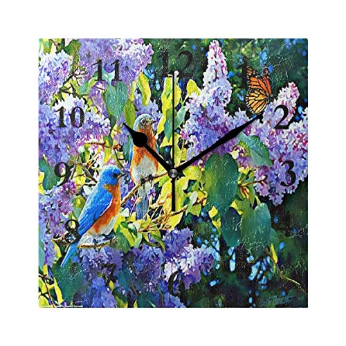 ZHOUSUN Personalized Non Ticking Silent Clock Art Living Room Kitchen Bedroom for Home Decor Flower and Bird Butterfly Square Acrylic Wall Clock
