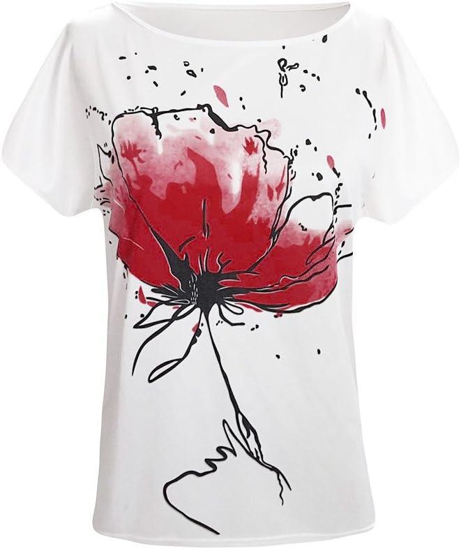 NPSJYQ Camisa De Manga Corta para Mujer Camiseta De Verano Estampado Floral Informal Blusas Sueltas Blusas CóModas Y Elegantes Camisetas Vintage Blusa Tops Cortos: Amazon.es: Ropa y accesorios