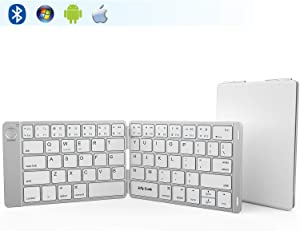 Folding Keyboard, Jelly Comb Ultra Slim Foldable BT Keyboard B047 Rechargeable Pocket Sized Keyboard for All iOS Android Windows Laptop Tablet Smartphone and More (White and Silver)