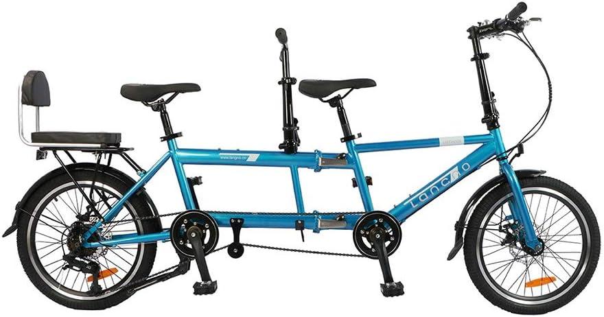 HAGUOHE Bicicleta Tándem Urbana Shimano Velocidad Variable Montar Bicicleta Montar Entretenimiento Universal Wayfarer Plegable Freno De Disco Bicicletas De Viaje