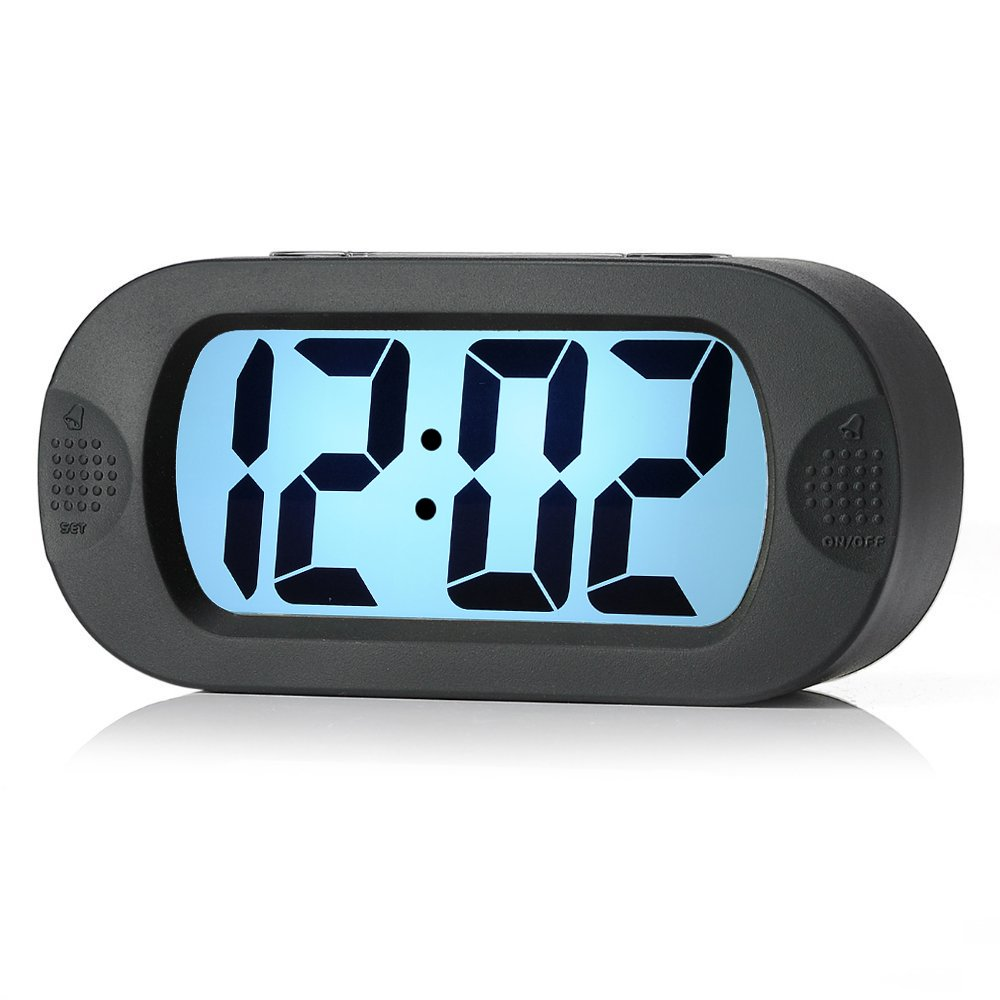 Easy to Set, Plumeet Large Digital LCD Travel Alarm Clock with Snooze Good Night Light, Ascending Sound Alarm & Handheld Sized, Best Gift for Kids (Black) by Plumeet