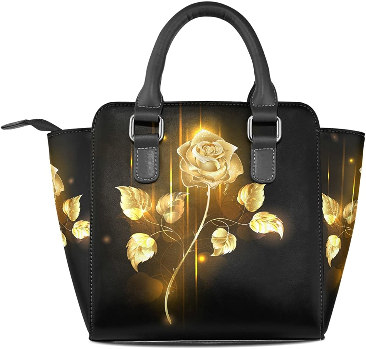 Jennifer PU Leather Top-Handle Handbags Flaming Golden Rose Flower Single-Shoulder Tote Crossbody Bag Messenger Bags For Women