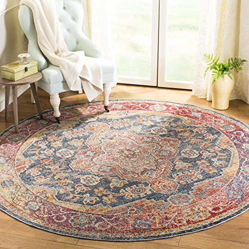 Safavieh Harmony Collection HMY403C Navy and Gold Round Area Rug (7' in Diameter)