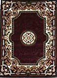 Traditional Area Rug Burgundy & Green Persian Kingdom Design D123 (5 Feet 2 inch X 7 Feet 1 Inch)