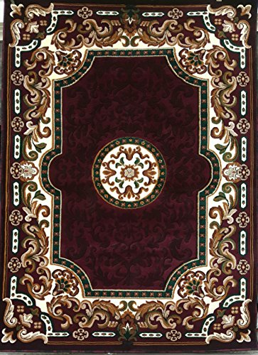 Kingdom Traditional Area Rug Burgundy & Green Persian Design #D123 (8ftX10ft.6in.)