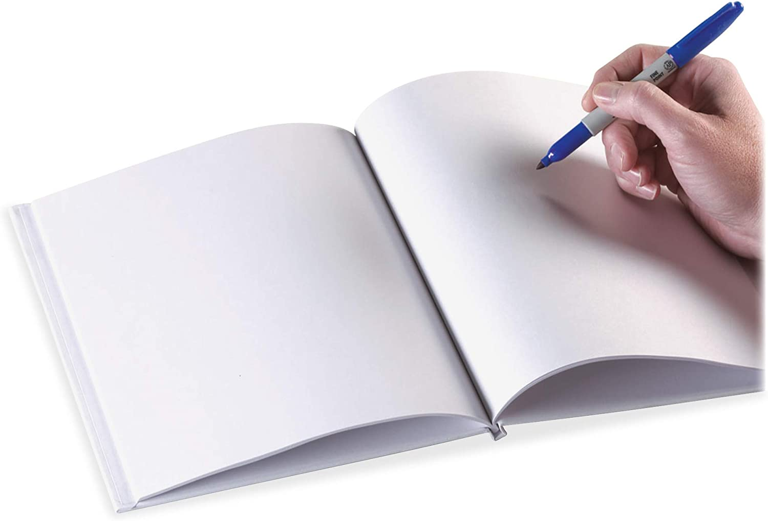 Ashley Hardcover Blank/Lined Pages Book, White, 6