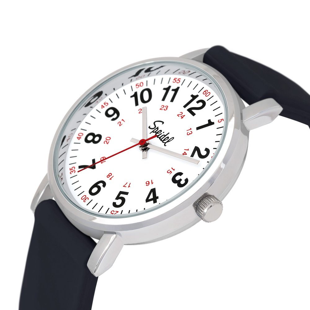 Speidel Scrub Watch for Medical Professionals with Black Silicone Rubber Band - Easy to Read Timepiece with Red Second Hand, Military Time for Nurses, Doctors, Surgeons, EMT Workers, Students and More by Speidel (Image #3)