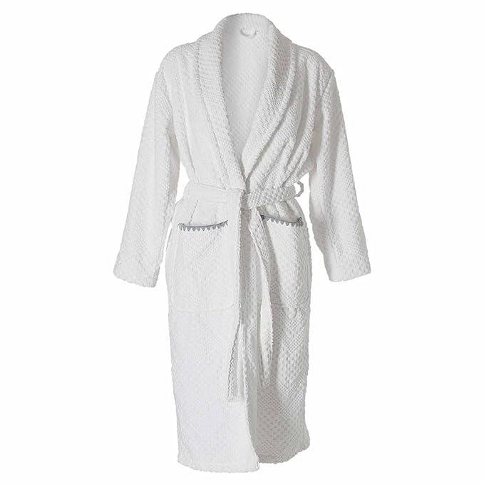 Sealskin Albornoz para Mujer Talla S-XL Blanco/Gris Bata de Baño Toalla Túnica Bañera: Amazon.es: Ropa y accesorios