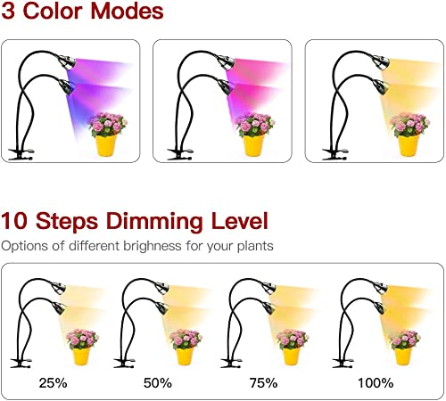LED Grow Light for Indoor Plants,Full Spectrum Dual Head Desk Clip Plant Light for Seedling Blooming,Adjustable Gooseneck Timer Setting 3H 9H 12H,3 Color Modes