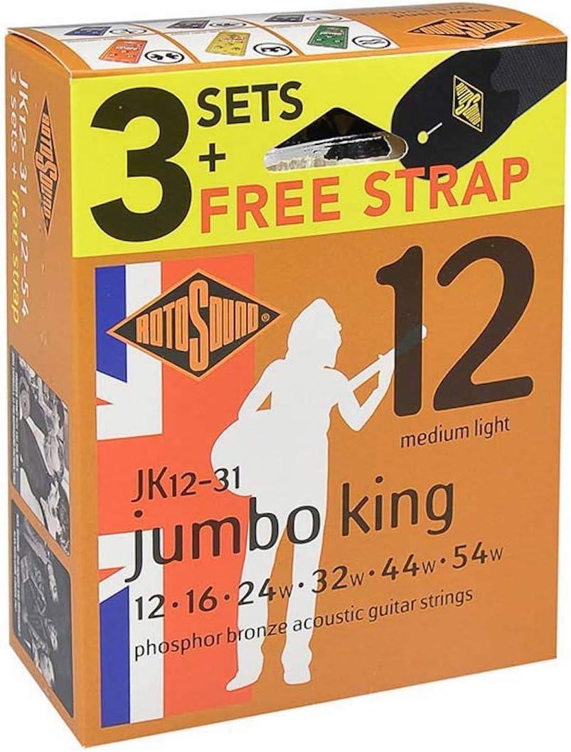 Rotosound JK12-31F cuerdas para guitarra acústica con correa a la mano (3 unidades)