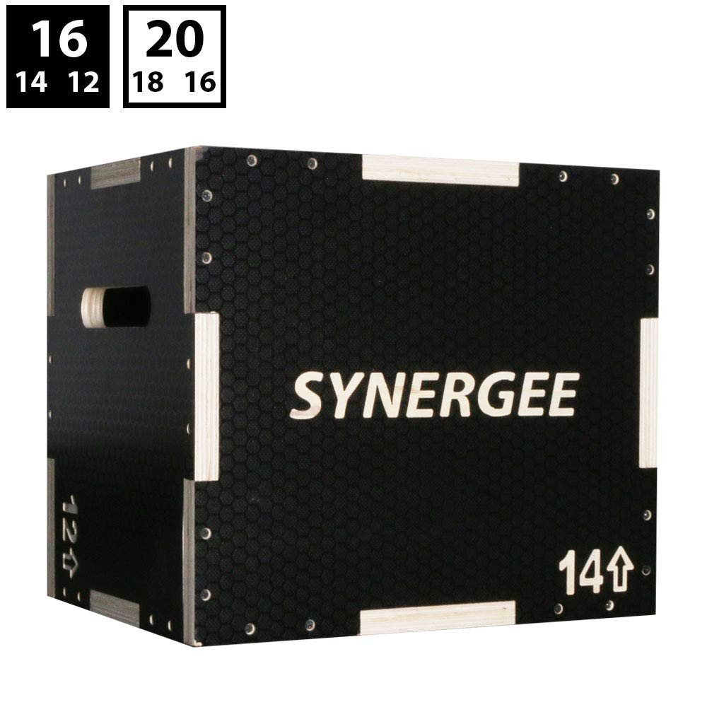 Synergee 3 in 1 Non-Slip Wood Plyometric Box for Jump Training and Conditioning. Wooden Plyo Box All in One Jump Trainer. Size - 16/14/12 by Synergee