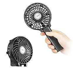 EasyAcc 携帯扇風機 手持ち充電式 USB扇風機 2600mAh PSE認証済 10時間継続稼働 3段階風量調節 スタンド機能 超静音 持ち運び便利 熱中症対策 オフィス アウトドア スポーツ観戦 野外フェス (ブラック)
