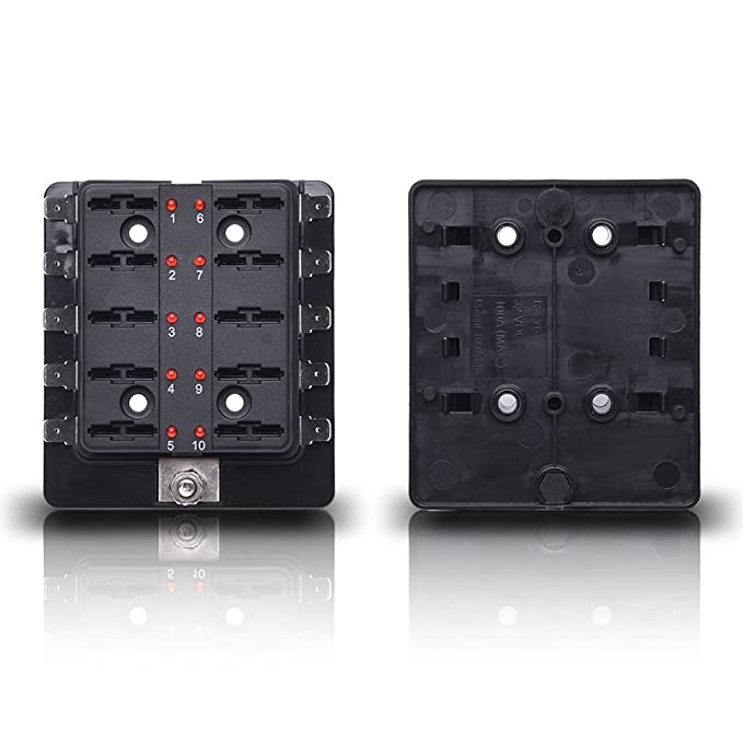 Qiilu Circuit Blade Sicherungskasten Blockhalter mit LED Warnleuchte ...