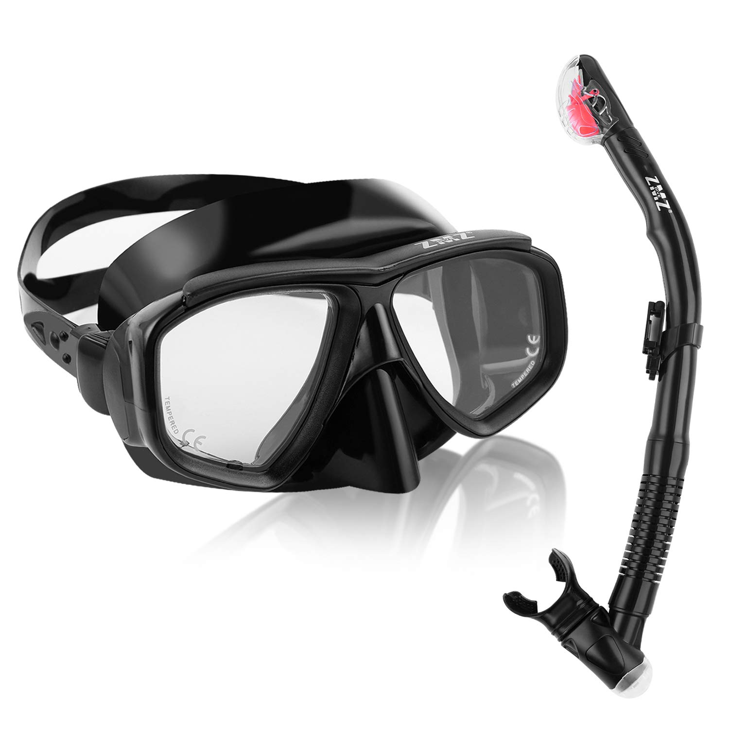 ZMZ DIVE Adult Snorkel Set, Tempered Glass Dry Snorkel, Adjustable Anti-Leak Anti-Fog Design Panoramic Scuba Mask, Top Snorkel with Food-Grade Silicone for Freediving Snorkeling (Black) by ZMZ DIVE