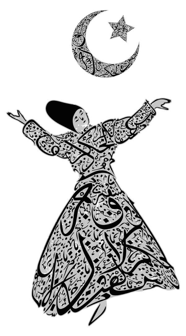 Wandtattoo Orient Wandsticker Orientalische Tänzerin mit Mondsichel und Stern o