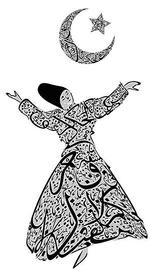 Pegatina de pared Este Bailarina oriental con luna creciente y ...
