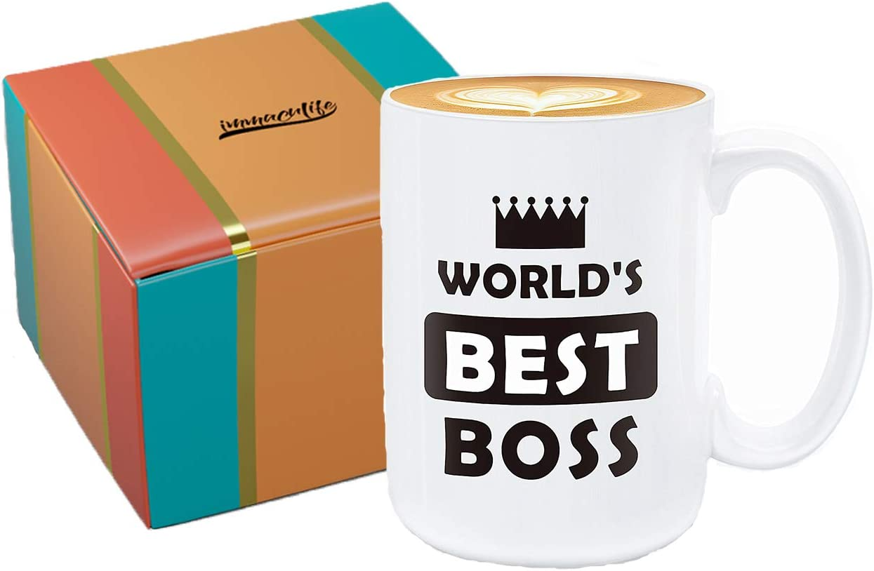 immaculife Worlds Best Boss Mug The Office Mug Ceramic Funny Coffee Mug 15oz Perfect Gift The Office TV Show Coffee Mug