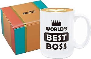 immaculife Worlds Best Boss Mug The Office Mug Ceramic Funny Coffee Mug 15oz Perfect Gift The Office TV Show Coffee Mug