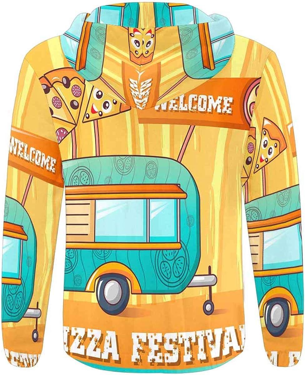 INTERESTPRINT Mens Full Zip Hoodies Welcome Pizza