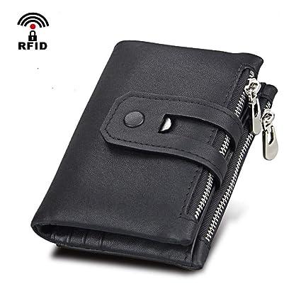autentico 81373 13b55 Coopay Portafoglio Uomo Nero con Clip RFID Protezione in Vera ...