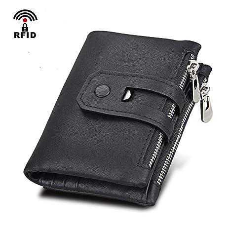 nuovo prodotto 6a3ee 07119 Coopay Portafoglio Uomo Nero con Clip RFID Protezione in Vera Pelle Porta  Tessere Slim Tascabile con 13 Porta Carte di Credito e Zip Classico ...