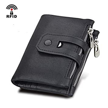 1f2b0afbb9 Coopay Portefeuille pour Homme Noir, Petit Slim Porte Monnaie Homme en Cuir  Véritable Classique RFID