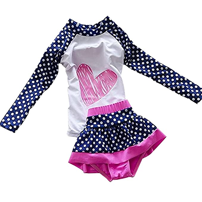 LOSORN ZPY Baby Girl Swimsuit Two Pieces Toddler Kid Long Sleeve Rash Guard  UPF 50+ c3773800fc2