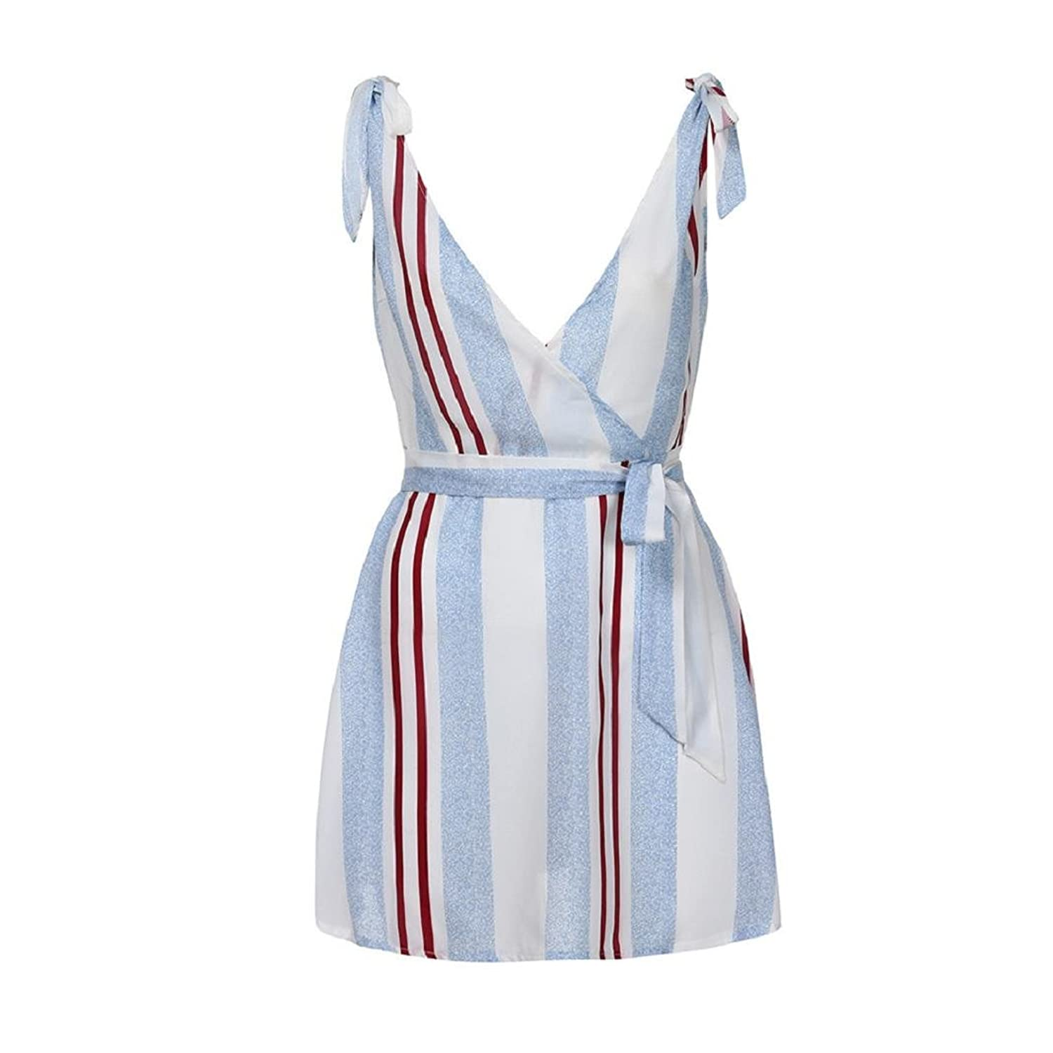 ShenPr Women Casual Striped Deep V Sleeveless Bowknot Bandage A-Line Mini Dress Holiday Party at Amazon Womens Clothing store: